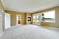 Empty master bedroom with walkout deck Stock Image