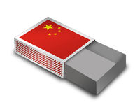 Empty Matchbox - China. 3d Render Matchbox with China - Flag vector illustration