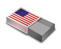 Empty Matchbox - USA. 3d Render Matchbox with USA - Flag stock illustration