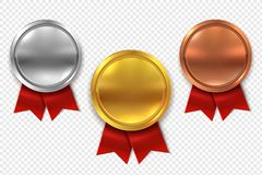 Empty medals. Blank round gold silver and bronze medal with red ribbons isolated vector set royalty free illustration