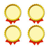 Empty medals. Color symbolical medals with a place for the text and color ribbons of different length Royalty Free Stock Image