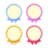 Empty medals. Color symbolical medals with a place for the text and color ribbons of different length Royalty Free Stock Photography