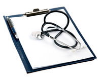 Empty medical document with a stethoscope Royalty Free Stock Image