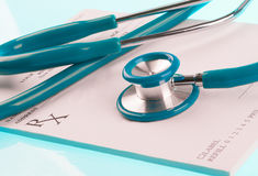 Empty medical prescription with a stethoscope Stock Images