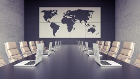 Empty meeting room and conference table with laptops 3d render 3d   Stock Images