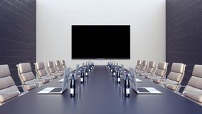 Empty meeting room and conference table with laptops 3d render 3d illustration. Empty meeting room and conference table with laptops  and lcd tv 3d render 3d Stock Images