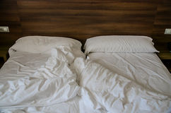 Empty messy bed Royalty Free Stock Photo