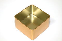 Empty metal box. Isolated empty metal box, golden color Royalty Free Stock Photo