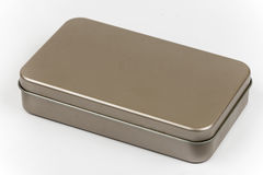 Empty metal box for cosmetic brushes Royalty Free Stock Photo