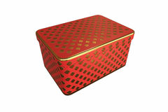 Empty metal box with lid, Isolated on White Background, 3D rendering Stock Photography