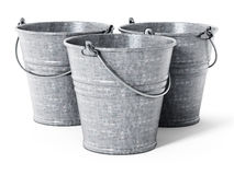 Empty metal bucket isolated on white background. 3D illustration Royalty Free Stock Image