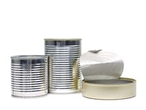 Empty metal cans Stock Photos