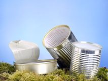 Empty metal cans in the grass Royalty Free Stock Photo