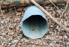 Empty metal drain pipe under log on dead leaves. Stock Photo