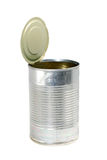 Empty metal food can with top. Side view of an empty metal food can, the top is open and still connected to can with no label Royalty Free Stock Image