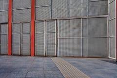 Empty metal industrial scene background. Empty urban industrial scene background in gray shades stock image
