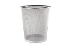 An empty metal trashcanon white backgroud Stock Photos