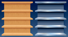 Empty Metal and Wood Shelves royalty free illustration