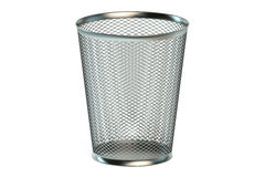 Empty metallic garbage bin Stock Images