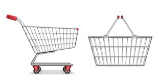 Empty metallic supermarket shopping cart side view isolated. Realistic supermarket basket, retail pushcart vector. Illustration EPS 10 vector illustration