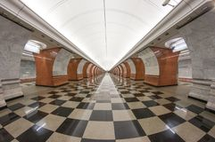 Empty metro station in Moscow royalty free stock image