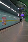 Empty metro station in Munich at Böhmerwaldplatz at night, 2015. Tube station platform at night waiting for the line U4 to Odeonsplatz, station is quite empty stock photo