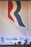Empty microphones for Governor Mitt Romney Stock Photo