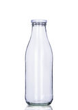Empty milk bottle isolated, clipping path included. Front view, closeup Stock Photo