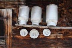 Empty milk can Stock Photo