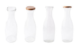 Empty milk glass bottle isolated Stock Images