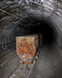 Empty mine trolley in mines Royalty Free Stock Images