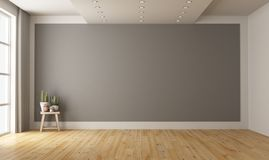 Empty minimalist room with gray wall on background stock photography