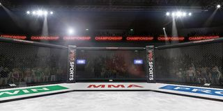 Mma fighting stage side view under lights 3d rendering stock illustration