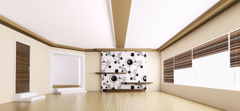 Empty modern apartment panorama 3d Stock Photo