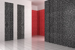 Empty modern bathroom with black, white and red tiles Royalty Free Stock Photo