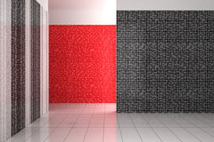 Empty modern bathroom with black, white and red tiles Stock Photos