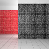 Empty modern bathroom with black, white and red tiles. Empty modern bathroom with mosaic tiles in black, white and red color Royalty Free Stock Photo