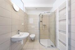 Empty modern bathroom. Modern bright bathroom with empty white wall Stock Photography
