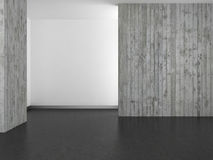 Empty modern bathroom with concrete wall and dark floor Stock Photo