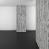 Empty modern bathroom with concrete wall and dark floor. Empty modern bathroom with concrete wall and dark resin floor Stock Photography