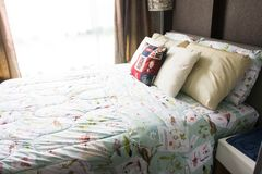 Empty modern bed in bedroom. Image of empty modern bed in bedroo stock photography