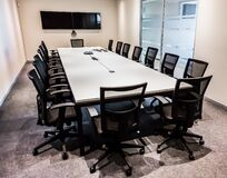 Free Empty Modern Boardroom Table And Chairs Stock Images - 180789464