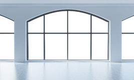 An empty modern bright and clean loft interior. Huge panoramic windows with white copy space and white walls. A concept of luxury Stock Photography