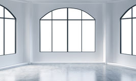 An empty modern bright and clean loft interior. Huge panoramic windows with white copy space and white walls. A concept of luxury Royalty Free Stock Photo
