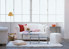 Empty Modern bright living room with window Stock Photo