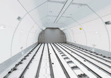 Empty modern civil airplane cargo hold Stock Photos