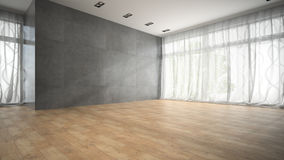 Empty modern design room with parquet floor 3D rendering 2 Stock Image