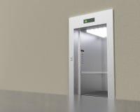 Empty modern elevator with opened doors. 3D rendering image Stock Images