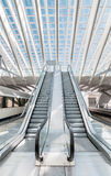 Empty modern escalators in the interior of subway station Royalty Free Stock Images
