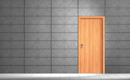 Empty modern grey room. Rendering of an an empty room with grey wall and wooden door royalty free illustration